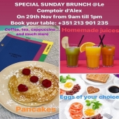 Our special sunday brunch 3rd edition at Le Comptoir d'Alex, this sunday 29th Nov, from 9am till 1pm, before the afternoon lockdown! Come to enjoy a nice family & friends time before resting at home. Book your table in advance... . . . #sundaybrunch#beforelockdown#familtytime#friendstime#enjoyabrunch#homemadejuices#eggsofyourchoice#pancakes#croissant#granola#homemadefood#delicious#enjoyfood#healthyfood#brunchtime#instafood#sundaymorning#sundayvibes#yummy#desjejum#delicisioso#sucoscaseiros#ovos de sua escolha#panquecas#desfrutardeumbrunch#tempodefimdesemana#comidasaudável#lecomptoirdalex#lappartementbynanaki#lisbon